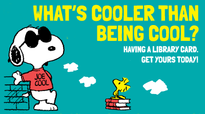 Snoopy says Get a Library Card illustration
