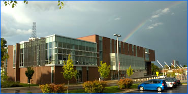 Main library with a rainbow